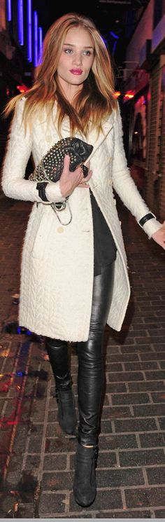R H-W in her cream Burberry coat over black leather leggings.