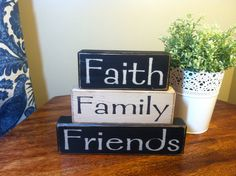 Wood sign blocks custom colors faith family friends great gift idea home decor  primitive wood blocks