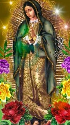Our Lady of Guadeloupe Pictures Of Jesus Christ, Religious Pictures, Religious Icons, Religious Art, Blessed Mother Mary, Blessed Virgin Mary, Catholic Prayers, Catholic Art, Mother In Heaven