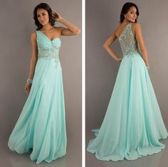 Long Chiffon One Shoulder Evening Formal Party Prom Dress #ShopSimple