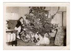 Christmas Tree Children Toys Baby Doll Tricycle Bike Antique Photograph Vintage Photography Xmas Day Toys Under Tree Holiday Snapshot 1930s