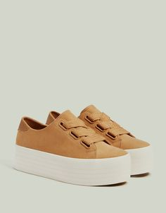Platform sneakers with XL laces - null - Bershka United States Platform Sneakers, Shoes Sneakers, Platform Tennis Shoes, Vans Shoes, Fashion Boots, Sneakers Fashion, Cheap Womens Shoes, Shoes Women, Fresh Shoes