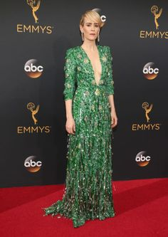 No one could take their eyes off Sarah Paulson in a green sparkly Prada gown with Brian Atwood shoes -- check out some of the best red carpet styles from the Emmys 2016!