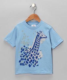 Light Blue Giraffe Tee - Toddler & Girls $7.99