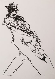 Tango Shorthand - original ink figurative drawing