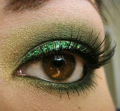 golden green make up!