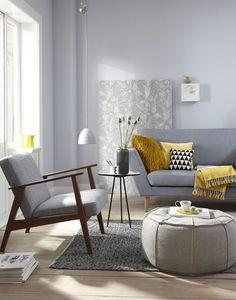 New living room decor colors yellow gray 24 ideas Living Room Decor Colors, Living Room Paint, Living Room Grey, Home Living Room, Interior Design Living Room, Living Room Designs, Therapy Office Decor, Home Decor, Eclectic Design