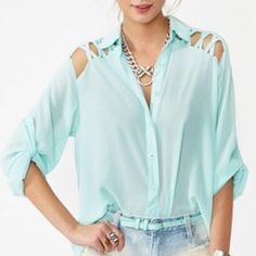 Nastygal Criss-Cross Laced Tail Blouse Sky-blue (almost mint) mesh-like material looks fabulous especially in the summer and features gorgeous laced up back. Nasty Gal Tops Blouses