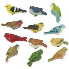 """Miniature Birds  One Package of 12 Miniature Birds (Tiny Birds!)  Each Bird is about 1/2"""" x 3/4""""  Perfect for Fairy Gardens, Miniature Birdhouses, Crafts & More!"""