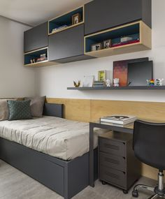 Looking for a teen bedroom remodel idea? Let's figure out 35 coolest teen bedroom ideas. Let's start with styling your bedroom! Shelves In Bedroom, Bedroom Desk, Small Room Bedroom, Home Bedroom, Modern Bedroom, Tiny Bedrooms, Teen Bedroom, Bedroom Furniture, Bedroom Benches