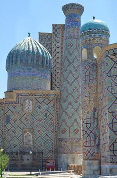 ** Stunningly beautiful architecture and decoration. I would love to one day visit the cities of the Silk Road. Detail Architecture, Islamic Architecture, Beautiful Architecture, Beautiful Buildings, Art And Architecture, Islamic World, Islamic Art, Beautiful Mosques, Beautiful Places