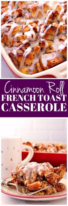 This Cinnamon Roll French Toast Casserole is a fun twist that combines cinnamon rolls and French toast in one delicious dish. Easy, delicious and bound to become a family favorite!
