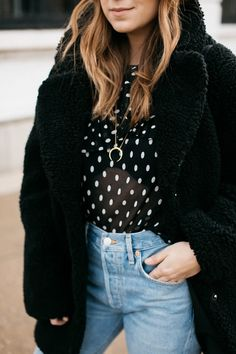 Polka Dot Blouse & Fuzzy Coat