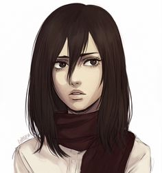 """lolakasa: """"Practice from some time ago where I was trying to stop my hands from drawing huge eyebrows on Mikasa lololol """""""