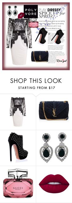 """""""Rose gal 27"""" by fatimazbanic ❤ liked on Polyvore featuring Yves Saint Laurent, Alaïa, Ciner, Gucci and Lime Crime"""