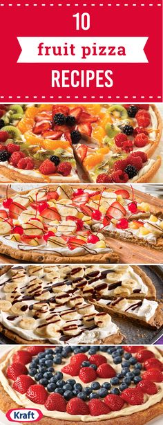 Try these fruit pizza recipes from My Food and Family! Please your sweet tooth with unconventional and delicious desserts like these fruit pizza recipes. Breakfast Fruit Pizza Recipe, Fruit Pizza Cookies, Easy Fruit Pizza, Cookie Pizza, Dessert Pizza, Breakfast Pizza, Fruit Pizza Recipes, Desert Pizza Recipes, Fruit Pizzas