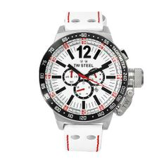 TW Steel Men's CE1014 CEO Canteen White Leather Chronograph Dial Watch TW Steel. $438.97. Water-resistant to 330 feet (100 M). Stainless steel case white leather band. Quartz movement. White chronograph dial. Mineral crystals. Save 30% Off!