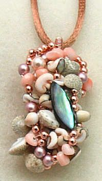 Under the Sea wirework pendant; pearls, shells and copper.