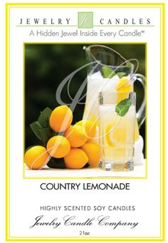 Jewelry Candles - Sarah Griggs Our Country Lemonade Jewelry Candles will make you pucker up to sparkling splashes of this citrus delight with luscious accords of juicy lemon, tangy citron zest, and sweet clementine!