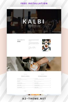 KALBI is a clean & elegant WordPress theme for cafes, bars, bistros, bakery, pubs, cafeteria, coffee shop pizzerias or other restaurant related businesses, this is the theme for you. Seting up and working with KALBI is over easy with 100% Page Builder & Theme Options. Top Wordpress Themes, Wordpress Website Design, Custom Website Design, Website Themes, Web Themes, Website Layout, Website Design Inspiration, Design Ideas, Site Web