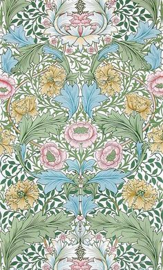 'Myrtle' design by William Morris A lighter palette. I love all fabrics and wallpaper by William Morris. William Morris Wallpaper, William Morris Art, Morris Wallpapers, Vintage Wallpapers, Tapestry Design, Textile Design, Fabric Design, Fabric Wallpaper, Of Wallpaper