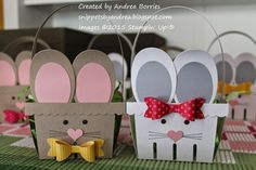 Bunny baskets made with the Berry Basket die and Bow Builder punch from Stampin' Up!