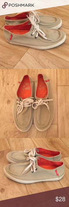 🎸Vans Casual Shoes🎸 Good condition. Size 7. Khaki color. Minor stains on sole and on left shoe (picture included). Vans Shoes