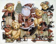Teddys & Toys by Nita Showers - Teddy Bear Wallpapers   - Christmas Teddy Bears - Teddys & Toys  -  Vintage Teddy Bear Paintings  11