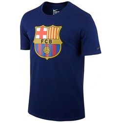 45a67afe65d2d Official 2015 2016 FC Barcelona Crest T-Shirt manufactured by Nike. This  navy Barcelona football crest tee is available to buy in adult sizes S