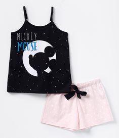 Pijama infantil Curto Blusa com estampa Short poá Com amarração Marca…