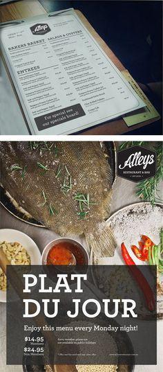 Alleys Restaurant - menu design