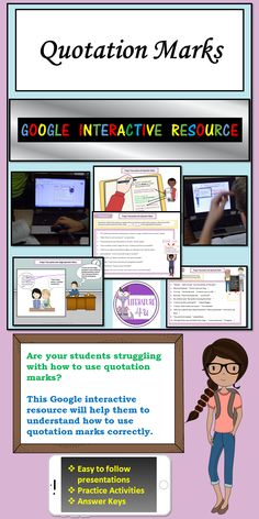 Writing teachers in ELA classes everywhere often agonize over their middle school and high school students' misuse of quotation marks. No matter how much they read and see quotation marks in use in dialogue in English class, they still make mistakes! This digital interactive resource, which can be used with Google Classroom, provides interactive and intensive practice with quotation marks. Your secondary students will get these down pat! Click through to buy now. #Englishlanguagearts #grammar Grammar And Punctuation, Teaching Grammar, Teaching Tips, Teaching Reading, Middle School Reading, Quotation Marks, Thing 1, Blended Learning, Reading Resources