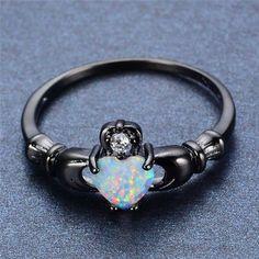 Aliexpress.com : Buy Elegant Heart Cut Rainbow Opal Claddagh Ring Fashion White…