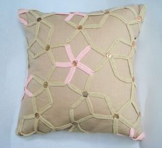 Beige linen crochet starfish cushion cover £45.00