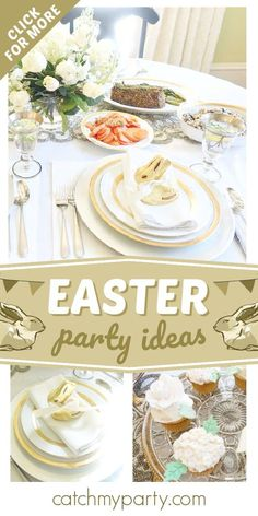 Don't miss this beautiful Easter party! The table settings are gorgeous! See more party ideas and share more at CatchMyParty.com