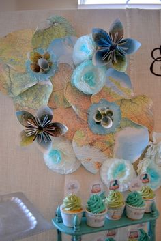 Beautiful paper flowers made out of maps