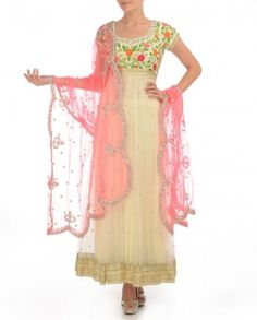 #Exclusivelyin, #IndianEthnicWear, #IndianWear, #Fashion, White Anarkali Suit with Floral Embroidered Yoke