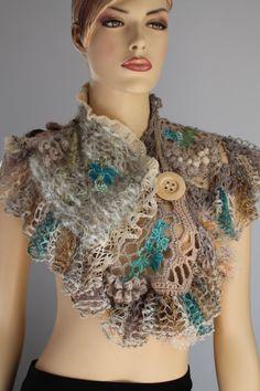 Freeform Crochet Capelet Shrug Wearable Art OOAK by levintovich