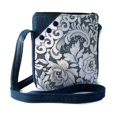 Denim and Lace Crossbody Bag, Upcycled Denim Repurposed Lace Hipster Purse, Recycled Denim Jean Purse, Fabric Jean Bag Purse, Shoulder Bag Mehr Denim Jean Purses, Denim Purse, Denim Handbags, Purses And Handbags, Blue Handbags, Hipster Purse, Sacs Design, Handmade Purses, Denim And Lace