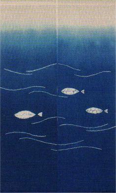 School of Fish Kyo Kanoko Shibori Noren Japanese Curtains and Wall ...