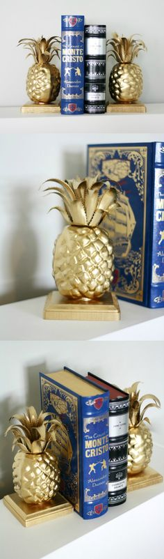 Learn how to make these simple, custom pineapple DIY bookends in just a few steps! The supplies are also very budget friendly.