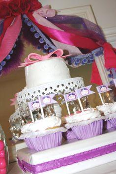 Fancy Nancy Mini Flags Cupcake Toppers