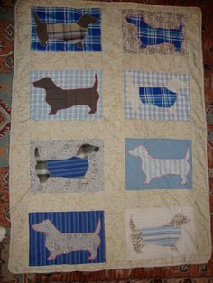 Delightful Dachshund Dog Quilt Throw Perfect by bobsfindsndesigns, $85.00