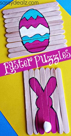 Popsicle Stick Easter Puzzles: Easy Easter Crafts for Kids. Easy Easter Crafts, Easter Art, Easter Projects, Easter Crafts For Kids, Easy Crafts, Easter Bunny, Children Crafts, Kids Diy, Easter Ideas