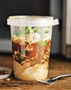 Plastic container or North African chicken soup with shredded chicken, ras el hanout, couscous, and preserved lemon Healthy Chicken Soup, Vegetarian Chicken, Chicken Soup Recipes, Healthy Soup, Chicken Soups, Cooked Chicken, Recipe Chicken, Garlic Chicken, Healthy Eats