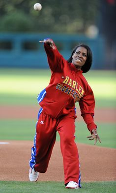 "Fatima ""TNT"" Maddox throwing out the first pitch before the game on July 24th. The rookie is a Temple University alumna and the first female Globetrotter since 1993."