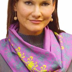 Thai Dreams organic scarf in Tantra colorway. Soft Art-printed Organic Scarves by Beau Monde Organics