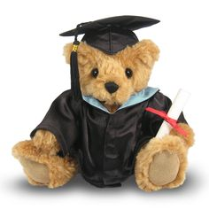 Our Great Little Graduate Teddy Bear is dressed in an authentic black satin graduation gown and miniature mortarboard hat. Each Bear carries a certificate of congratulations that can be filled in to personalize this special graduation gift. The Graduate Teddy Bear is available wearing a choice of five hood colours; Sky Blue, Red, Royal Blue, Grey, and Purple and will arrive in a beautiful clear presentation box.  The Graduation teddy bear at British Teddies is definitely a keepsake teddy ...