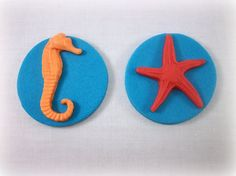 Under the Sea Fondant Edible Cupcake Topper Party by LenasCakes