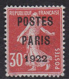 FRANCE 1922 PREOBLITERE. N°32, 30CT TB. SIGNE. 200€  I164